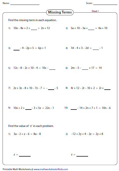 math worksheet : simplifying algebraic expression worksheets : Addition And Subtraction Algebra Worksheets