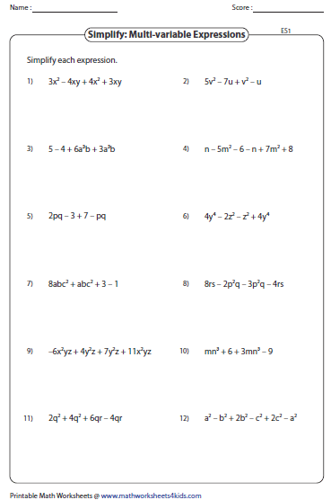 Simplifying Expressions Worksheets: Simplifying Algebraic Expression Worksheets,