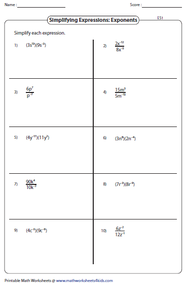 Worksheet Negative Exponent Worksheets simplifying algebraic expression worksheets linear expressions
