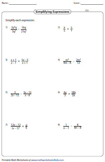 Printables Simplifying Algebraic Expressions Worksheet simplify equations worksheet davezan simplifying algebraic expression worksheets