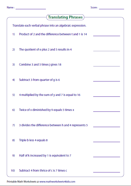 Printables Writing Algebraic Equations From Word Problems Worksheet translating phrases into algebraic expressions worksheets two step