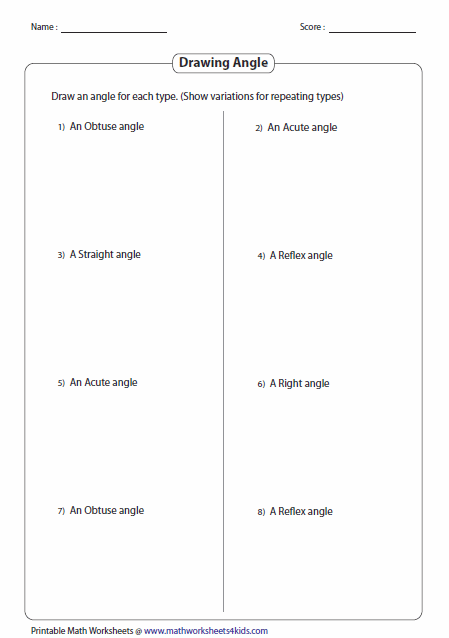 ... draw the angle students should set up their own example for each angle