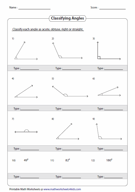 Right Angle Shapes Worksheet Identifying angle types