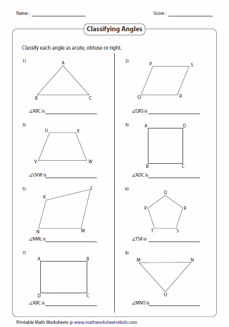 Worksheets Acute Obtuse And Right Angles Worksheets classifying and identifying angles worksheets types of in shapes