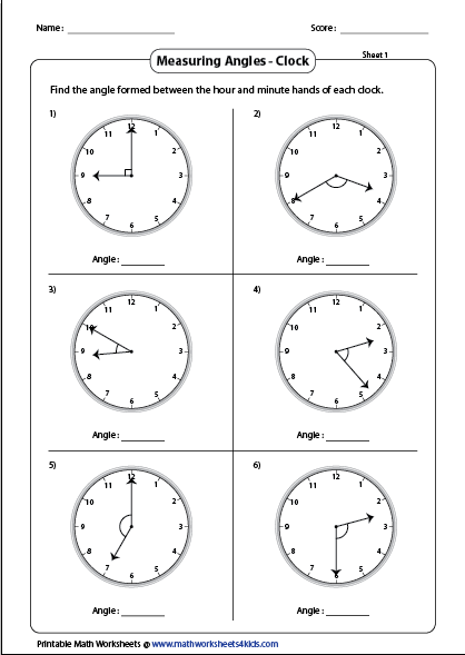 Printables Using A Protractor Worksheet measuring angles and protractor worksheets clock