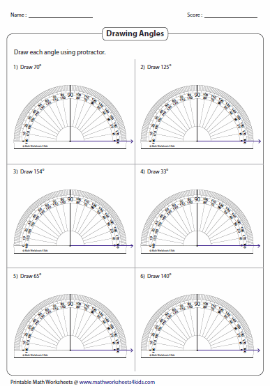Printables Using A Protractor Worksheet measuring angles and protractor worksheets drawing angles