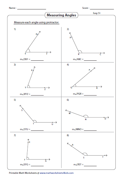 Naming Angles (A) Geometry Worksheet