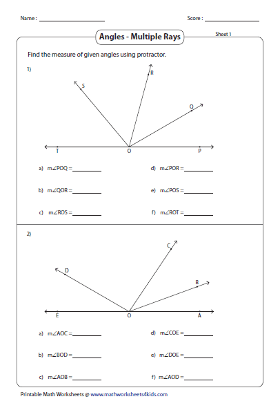 Printables Measuring Angles Worksheet Answers measuring angles and protractor worksheets between multiple rays