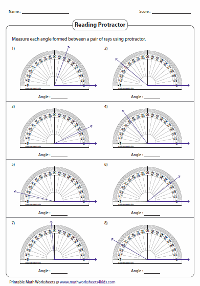 Measuring Angles and Protractor Worksheets