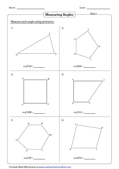 Worksheets Angles Of Polygons Worksheet measuring angles and protractor worksheets formed by shapes