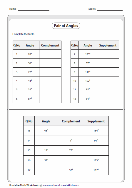 Printables Complementary Supplementary Angles Worksheet pairs of angles worksheets complementary and supplementary function table