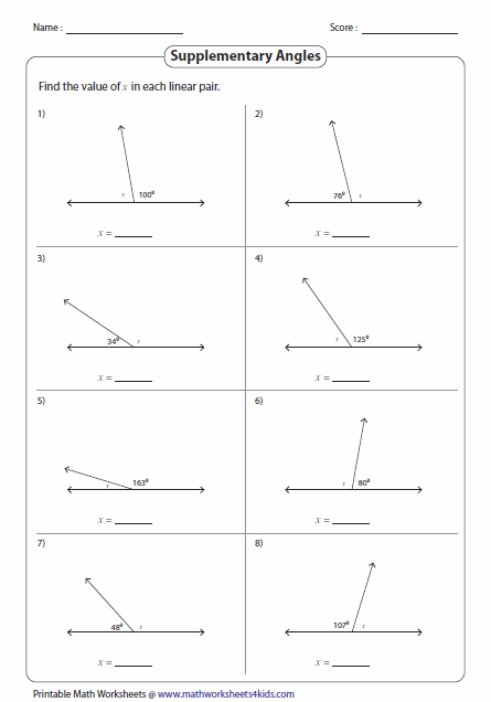 Worksheets Angle Pairs Worksheet pairs of angles worksheets supplementary in linear pair