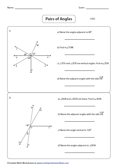 Printables Complementary And Supplementary Angles Worksheet pairs of angles worksheets understanding part 2
