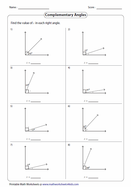 Worksheets Complementary Supplementary Angles Worksheet pairs of angles worksheets complementary in right angles