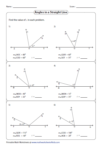 Pairs Of Angles Worksheets