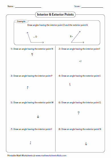Identifying Parts and Naming Angles Worksheets