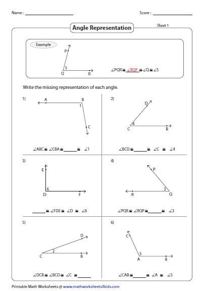 Identifying Parts and Naming Angles Worksheets