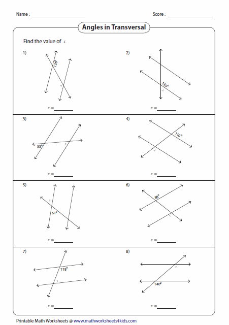 Angles formed by parallel lines and transversals worksheet pdf