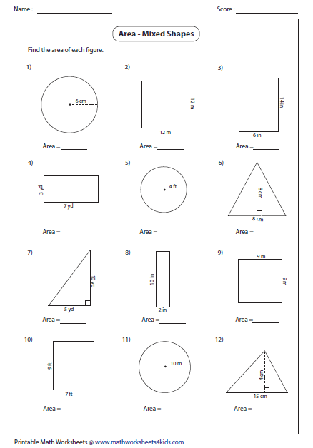 Number Names Worksheets geometry 1 worksheets : Area Worksheets
