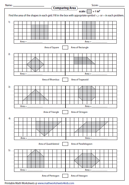 Perimeter And Area Worksheets 3rd Grade Find the area of each shape