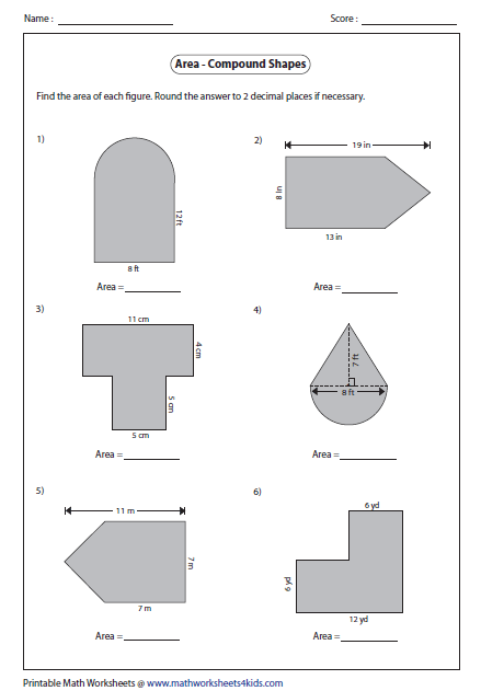 Worksheets Composite Area Worksheet area worksheets of compound shapes type 1