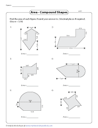 Area of Compound Shapes (Composite Shapes) Worksheets