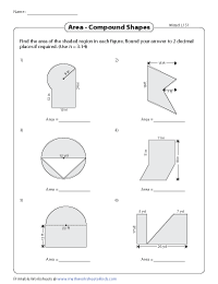 Area of Compound Shapes | Revision Worksheets - Level 1