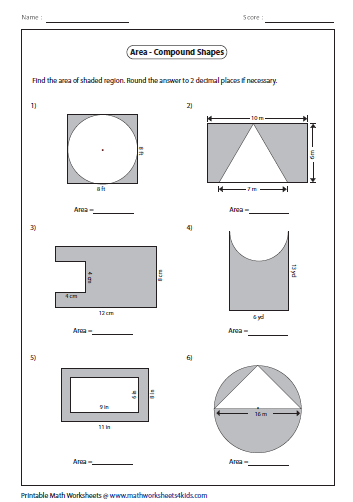 Printables Area Of Irregular Shapes Worksheet area worksheets of compound shapes type 2