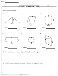 Area of Mixed Shapes Worksheets
