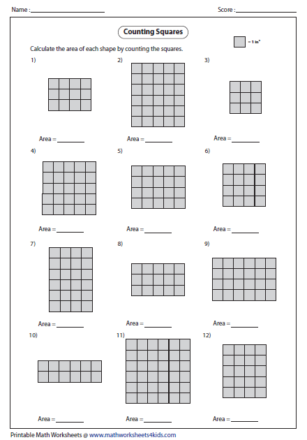 ... Counting Squares Worksheets on perimeter and area worksheets grade 4