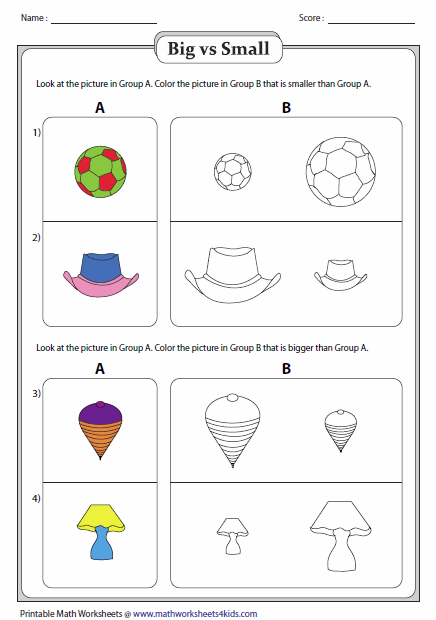 Worksheets Big And Little Worksheets big and small worksheets coloring objects