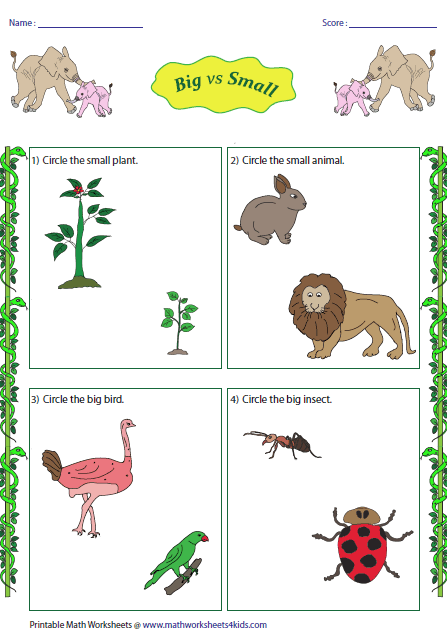 Worksheets Big And Little Worksheets big and small worksheets vs jungle theme
