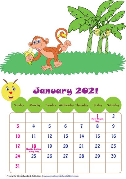 Printable 2021 Calendars for Children