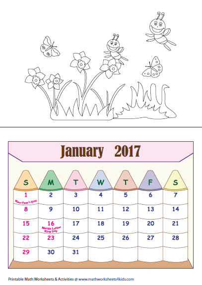 for students as an exercise to color them color all the calendars and ...