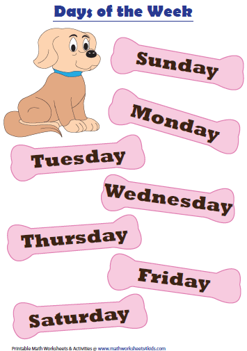 math worksheet : days months and seasons charts and worksheets : Kindergarten Days Of The Week Worksheets