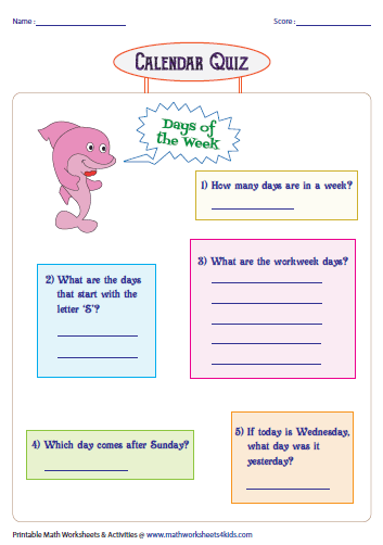 Calendar Practice Worksheets Kindergarten : Days months and seasons charts worksheets