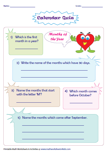 Days, Months and Seasons: Charts and Worksheets