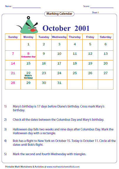 Calendar Worksheet Grade : Reading calendar worksheets with word problems