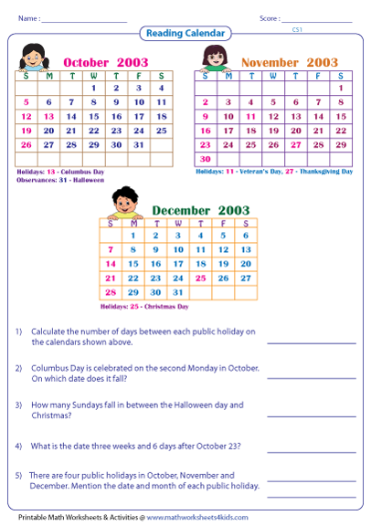 Calendar Activities Grade 2 : Reading calendar worksheets with word problems