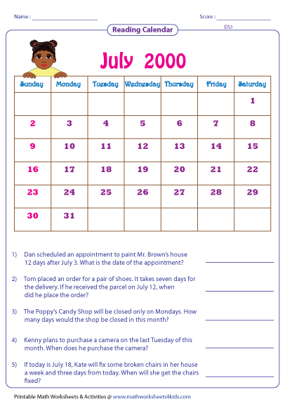 Kindergarten Calendar Worksheets: reading calendar worksheets with word problems,