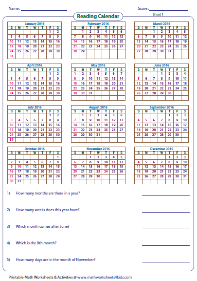 Calendar Activities Esl : Reading calendar worksheets with word problems
