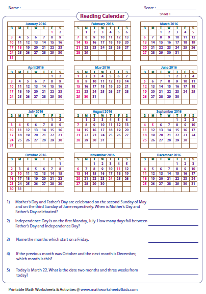 Calendar Activities For Third Grade : Calendar math worksheets for nd grade time