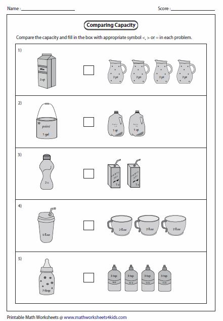 Capacity Worksheets