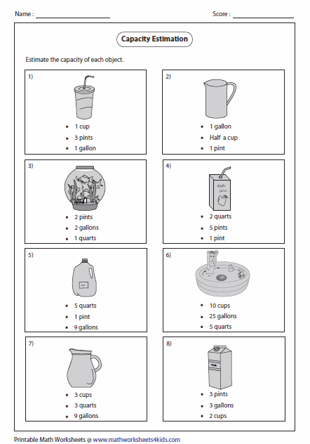 math worksheet : capacity worksheets : 5th Grade Math Measurement Worksheets