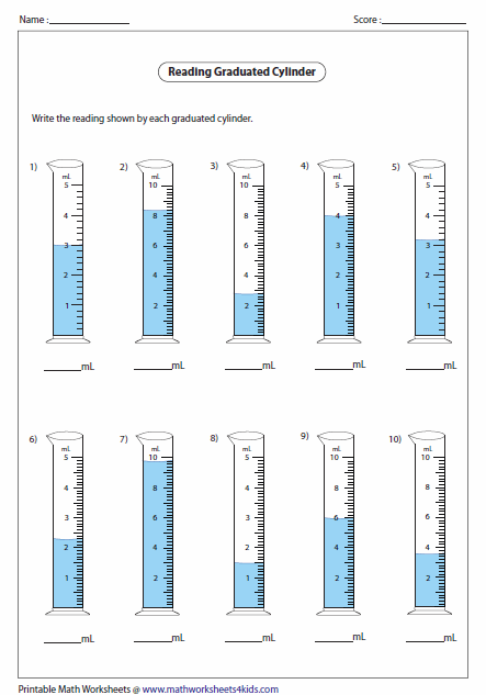 Printables Reading Graduated Cylinder Worksheet capacity worksheets reading cylinders decimals