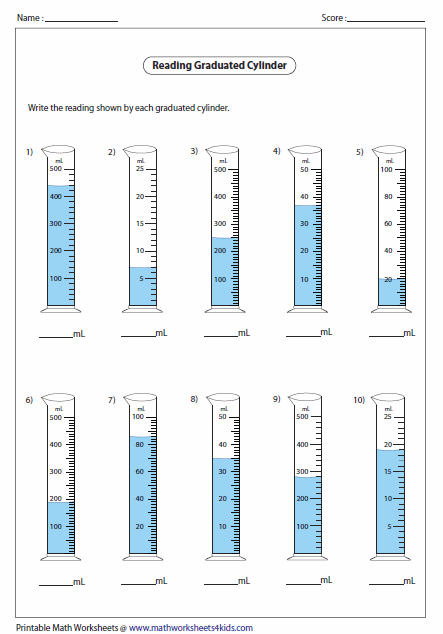 Printables Reading Graduated Cylinder Worksheet capacity worksheets reading a graduated cylinder