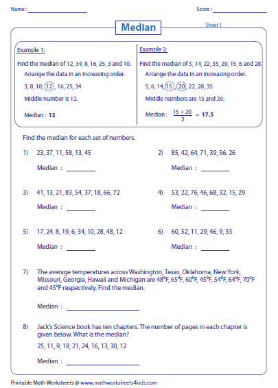 Printables Mean Mode Median Range Worksheet mean median mode and range worksheets finding worksheets