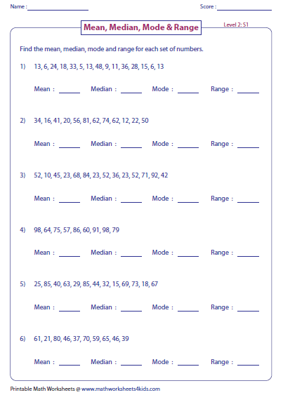 Printables Mean Mode Median Range Worksheet mean median mode and range worksheets mixed problems level 2