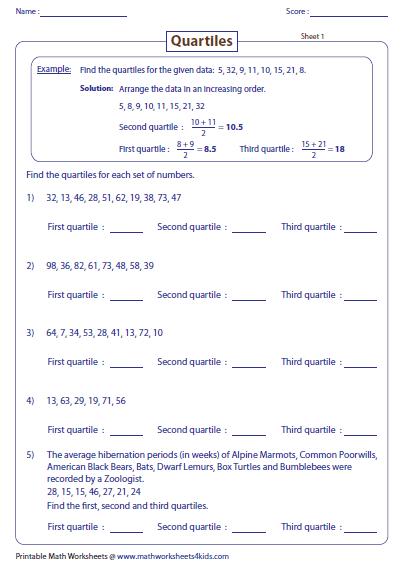 range median mode worksheets