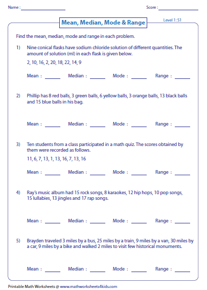 Printables Mean Median Mode Range Worksheet mean median mode and range worksheets word problems level 1